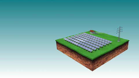 Solar Power Energy Park Sending Eco Power via Electric Power Transmission Animation