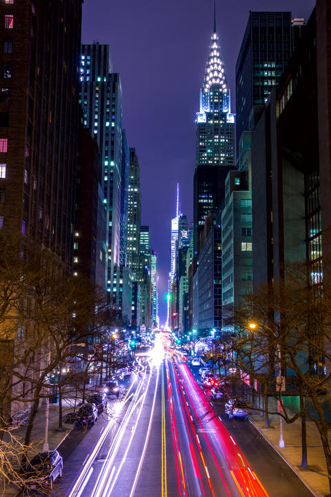 Night Traffic on 42nd Street of New York City フォト