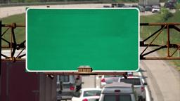 4K Blank Highway Roadsign Above Road Footage