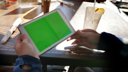 4K Man Holds Green Screen Tablet PC Outside Closeup Footage