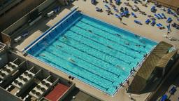 Overhead Pool Swimmers Footage