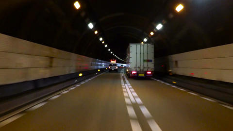 Highway Patrol escort exiting the tunnel on the Kyoto Highway Live Action