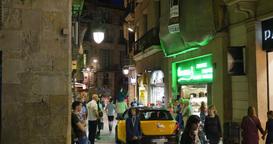 4K Narrow Barcelona Streets at Night Footage