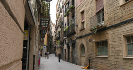 4K Narrow European Barcelona Streets Footage