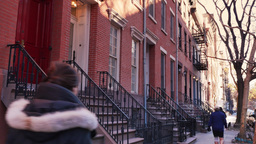 4K New York Style Apartment Building Establishing Shot Footage