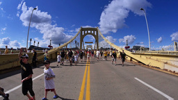 Pirates Fans Walk Across Roberto Clemente Bridge Footage