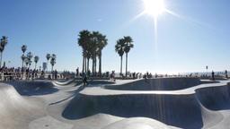 Venice Beach Skate Park Establishing Shot Footage