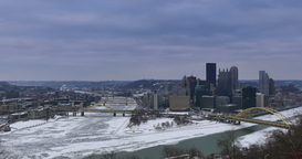 Pittsburgh Time Lapse Establishing Shot Winter Footage