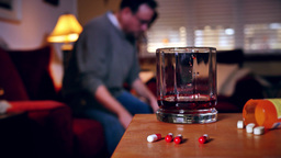 Man Struggles With Alcohol And Drugs stock footage