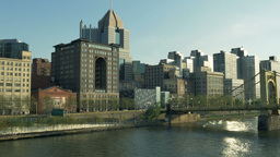 Pittsburgh North Shore Early Evening Establishing Shot stock footage