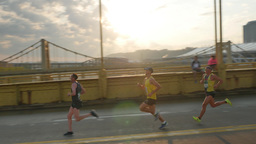 Pittsburgh Marathon Runners on Andy Warhol Bridge Footage