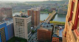 High Angle Establishing Shot View of Pittsburgh Footage