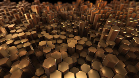 Gold many hexagon with geometry background Footage
