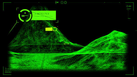 Green HUD 3D Landscape Hologram Interface Graphic Element, Stock Animation