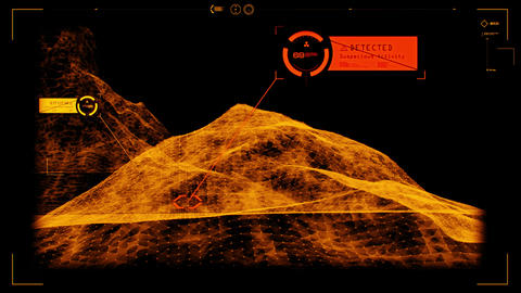 Orange HUD 3D Landscape Hologram Interface Graphic Element Animation