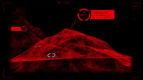 Red HUD 3D Landscape Hologram Interface Graphic Element Animation