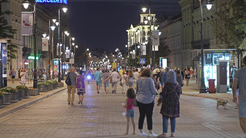 WARSAW, POLAND - AUGUST 4, 2018. Crowded pedestrian street in city centre in the GIF