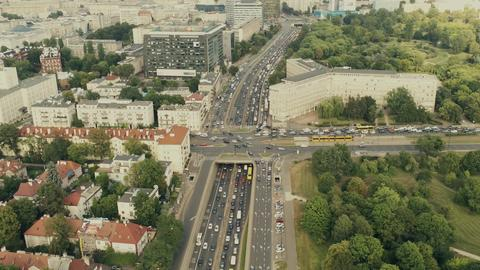 Rush hour traffic in Warsaw, Poland, aerial view Photo