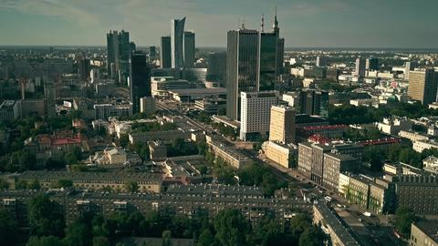 WARSAW, POLAND - AUGUST 7, 2018. Aerial shot of the city centre Photo