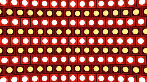 Lights flashing wall bulbs pattern rotation stage red background vj loop GIF