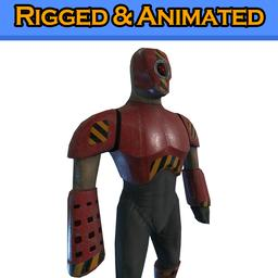 Cyborg Knight - Rigged & Animated Low Poly RPG/FPS Character 3D model โมเดล 3D