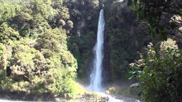 Power water of waterfall in forest and mountains New Zealand Footage