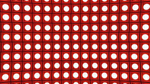 Lights flashing wall bulbs pattern horizontal rotation stage red background vj Animation