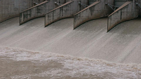 Floodgate of the dam that is open to drain,Location Pa Sak Jolasid Dam, Lop Footage