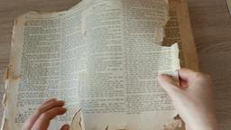 Man is searching through an old, antique german language bible ビデオ