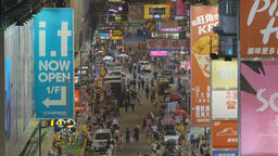 4k video of pedestrians in a busy street in Hong Kong Footage