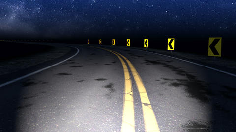 Night curved road with starry sky loop Animation