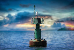Navigation Buoy with Solar Panels Photo