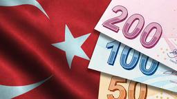 Turkish Lira with Turkish Flag Background Photo