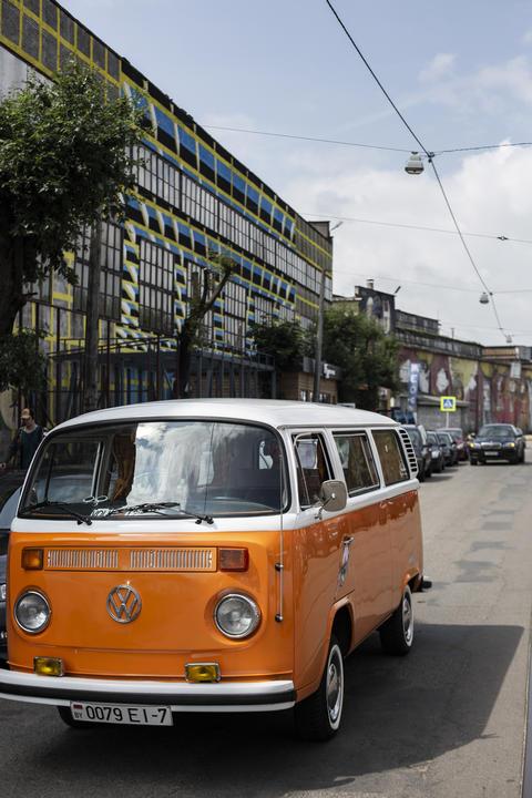 Minsk, Belarus, August 14 2018 - white and Orange Volkswagen Type 2 VW T2 parked Photo