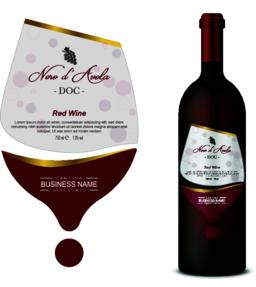 Wine Label Glass with bottle Vector