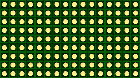 Lights flashing wall bulbs pattern static flash stage green background vj loop Animation
