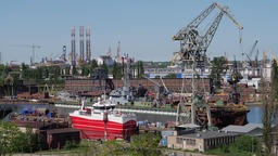 Gdansk, Poland. Zoom in shot at industrial area of shipyard in Gdansk Footage
