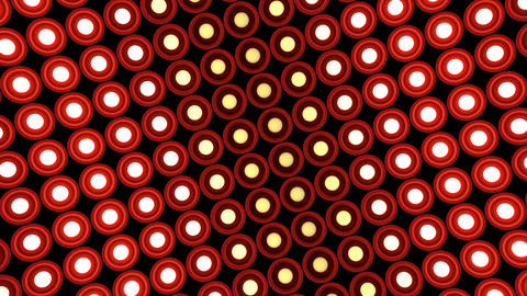 Lights flashing wall round bulbs pattern rotation stage red background vj loop Animation