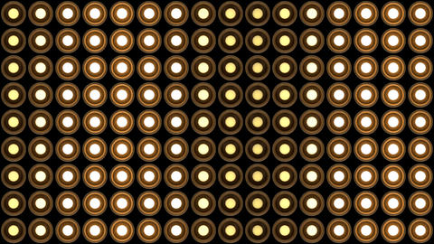 Lights flashing wall round bulbs pattern static vertical wood stage background Animation