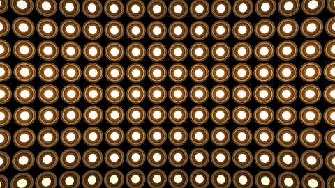Lights flashing wall round bulbs pattern static horizontal wood stage background Animation