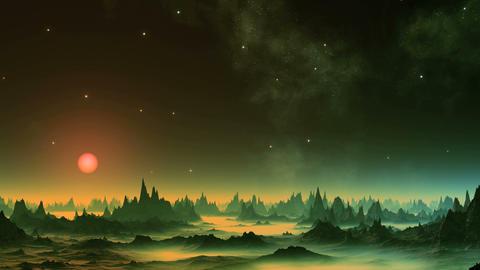 Shimmering Nebula in the Sky Alien Planet GIF