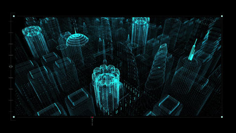 Hi Tech User Interface Head Up Display Digital Cityscape Animation