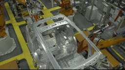 Robots are welding in automobile factory Footage