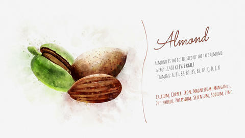 Card about the energy value of Almonds Footage