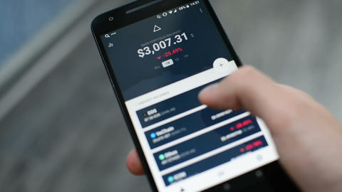 Checking Bitcoin cryptocurrency portfolio list on Delta mobile app Live Action