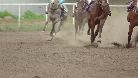 Horse Riders at the Turn of the Racetrack. Slow Motion GIF