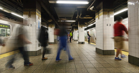 Busy New York City Subway Station Platform Time Lapse Footage