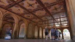 Time Lapse Tourists Visit Bethesda Terrace in Central Park Footage