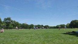 People Relax and Play Ball on the Great Lawn of Central Park Footage