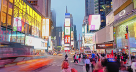 Evening Timelapse Times Square Establishing Shot Footage